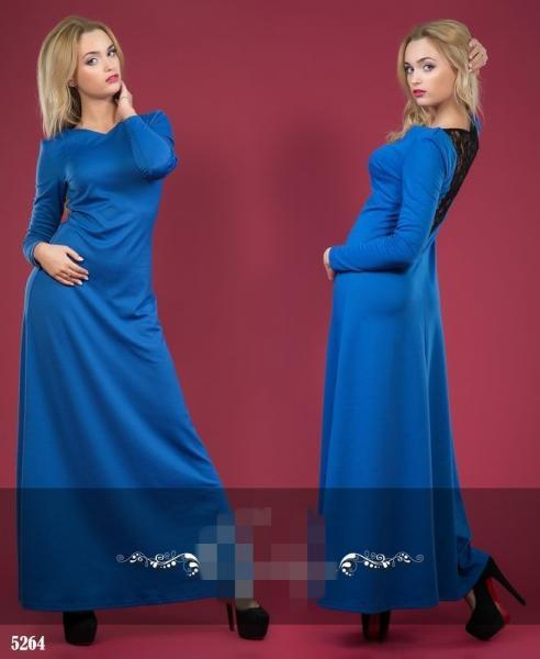 Платье длинное составкой из гипюра сзади. Цвет - электрик.5264