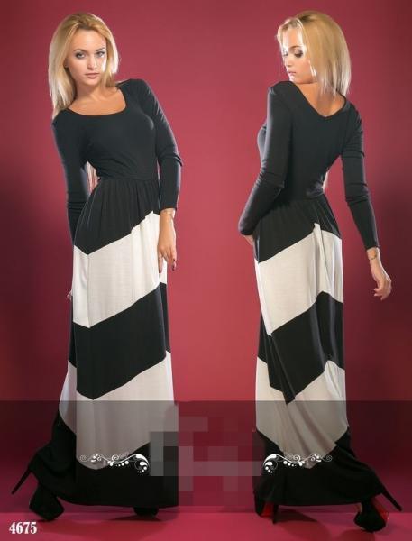 Платье длинное со вставками. Цвет - черный, белый.4675