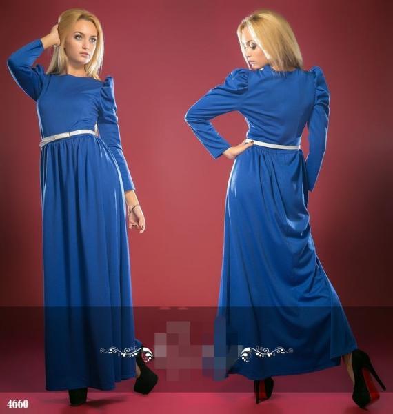 Платье длинное с поясом. Цвет - электрик.4660
