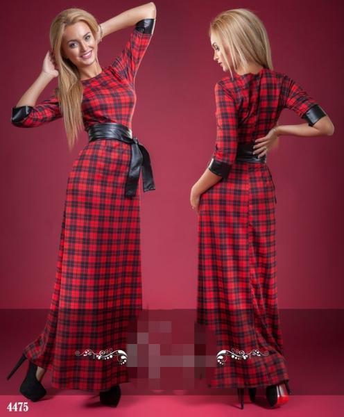 Платье в клетку длинное с поясом. Цвет - красный, черный.4475