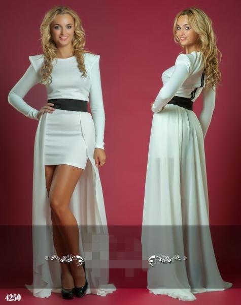 Платье со съемной юбкой в пол. Цвет - белый.4250