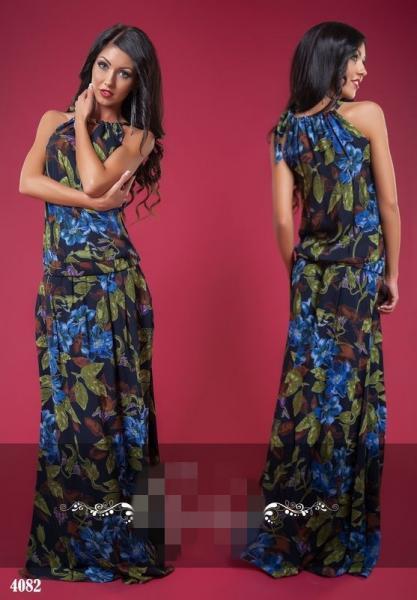 Платье в пол с завязкой на плече. Цвет - темно-синий, синий.4082