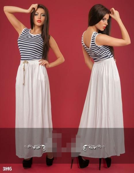 Платье длинное с верхом в полоску. Цвет - белый, темно-синий3895