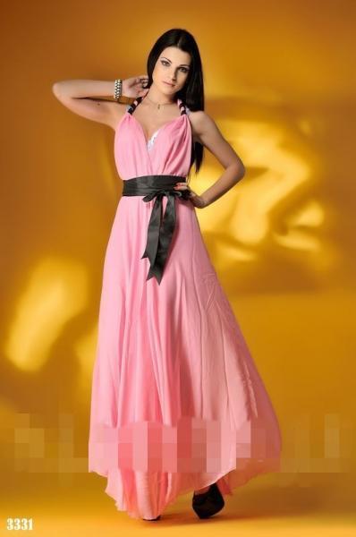Платье длинное на завязках. Цвет - розовый, черный.3331