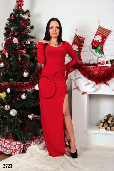 Платье в пол с разрезом. Цвет - красный.2723