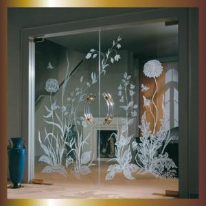 Фото Наполнение двери (фотопечать, химтравление, покраска) пескоструйный рисунок на стекле