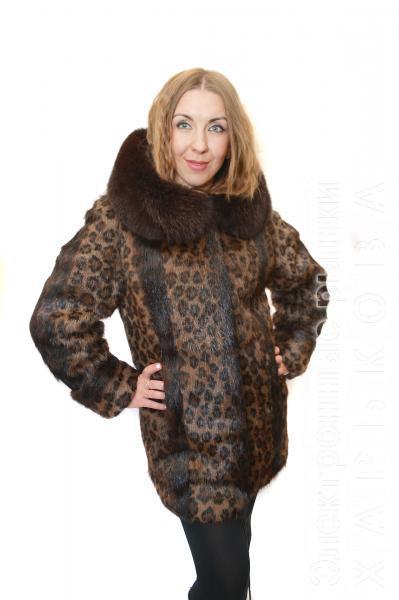 Шуба из стриженной нутрии, накатка – леопард, капюшон из песца - Шубы из меха нутрии на рынке Барабашова