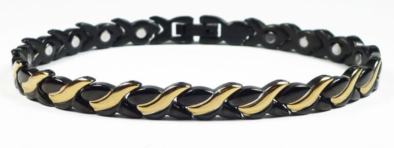 Магнитный стальной браслет Фелиция с черным ионным покрытием