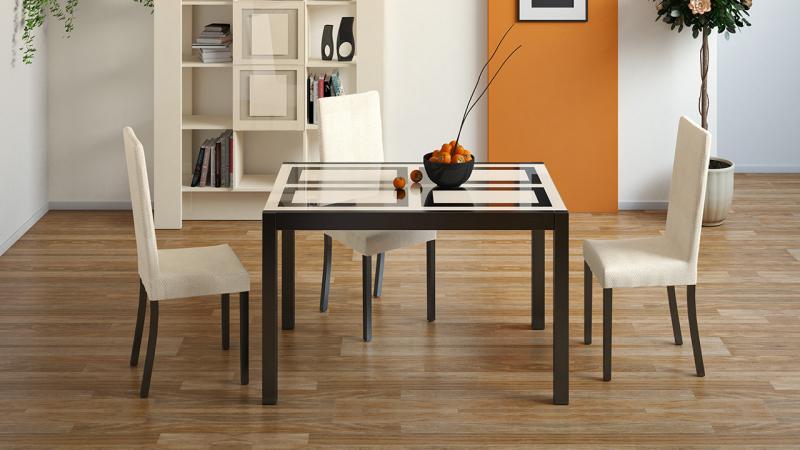 Стол кухонный раскладной со стеклом «Диез Т4»(ТриЯ)
