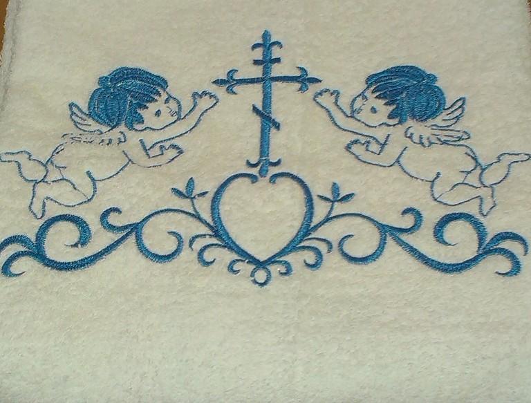 Крыжма для Крещения с голубой вышивкой 70х140
