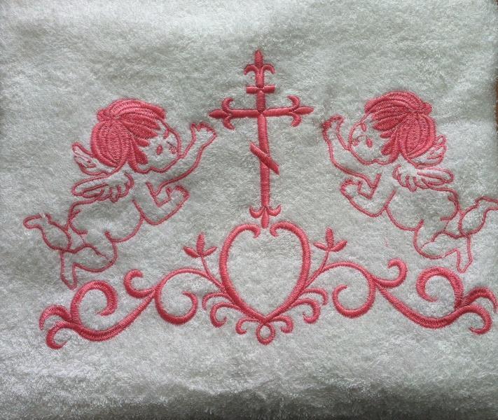 Крыжма для Крещения с розовой вышивкой 70х140