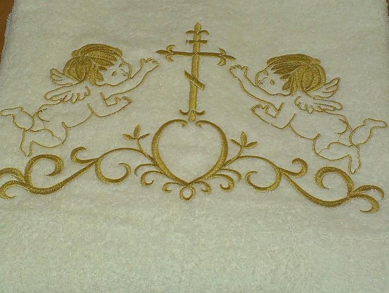 Крыжма для Крещения с золотой вышивкой 100х150