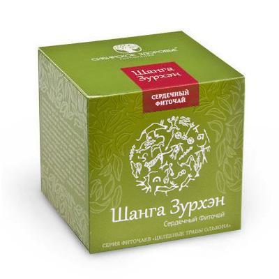 БАД Фіточай «Шанга Зурхэн» (Сильное сердце) зелена упаковка