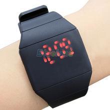 мужские и женские с сенсорным цифровым красным из светодиодов экраном силиконовые спортивные наручные часы 15A5