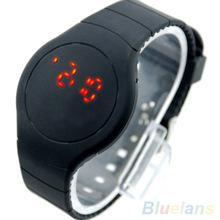 ультра тонкие спортивные часы с сенсорным управлением на светодиодах с круглым циферблатом и браслетом 26QB