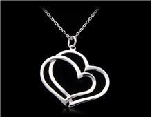 Сплав серебра 925 c напылением Мельхиора ожерелье из двух сердец (серебро)