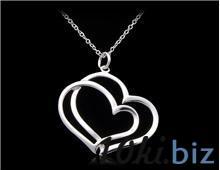 Сплав серебра 925 c напылением Мельхиора ожерелье из двух сердец (серебро) купить в Иркутске - Подарки на 14 февраля!!! с ценами и фото
