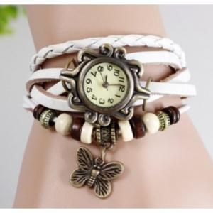 Фото Часы наручные Часы браслет с бабочкой (белые)