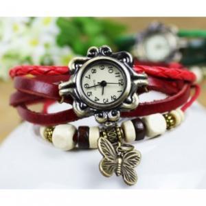 Фото Часы наручные Часы браслет с бабочкой (красные)
