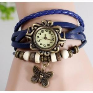 Фото Часы наручные Часы браслет с бабочкой (синие)