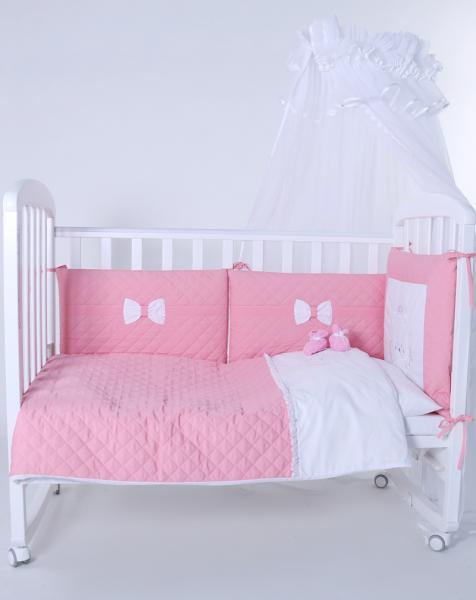 """Защита в детскую кроватку """"Мишка-ангел розовый"""" 300см + КПБ"""