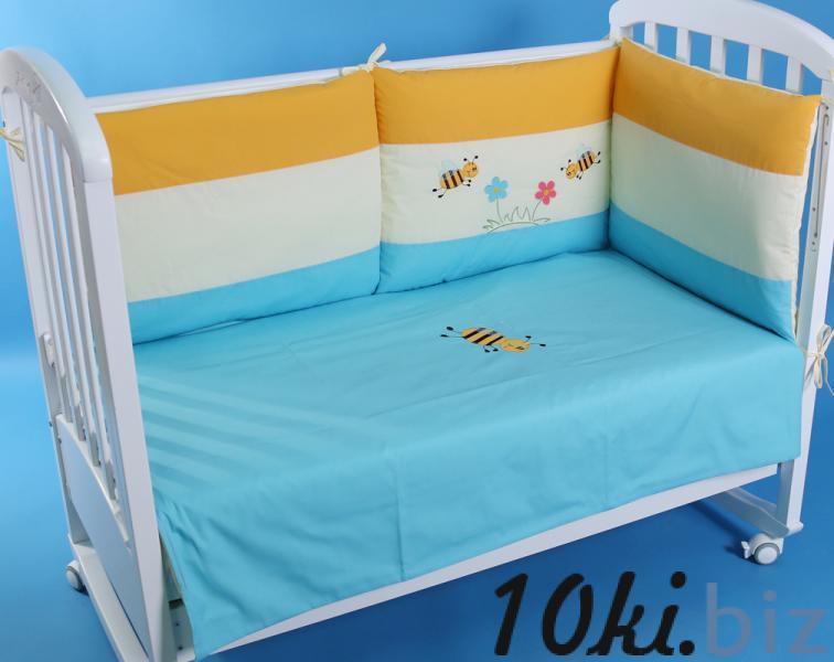 """Защита в детскую кроватку """"Пчелки на бирюзовом"""" 300см + КПБ Защита в детскую кроватку, бортик, бампер в Украине"""