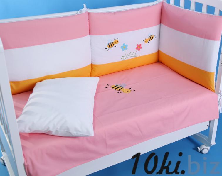 """Защита в детскую кроватку """"Пчелки на розовом"""" 360 см + КПБ Защита в детскую кроватку, бортик, бампер в Украине"""