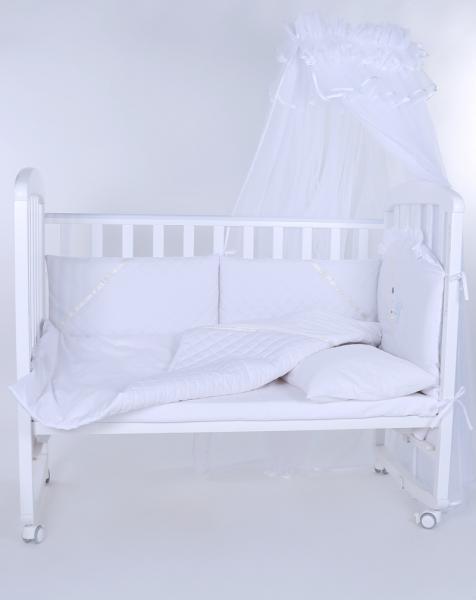 """Защита в детскую кроватку """"Мишка на луне белый"""" 300см + КПБ"""