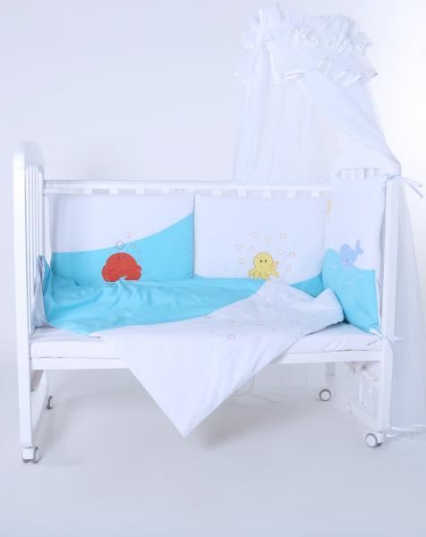 """Защита в детскую кроватку """"Море бирюзовое"""" 360 см + КПБ"""