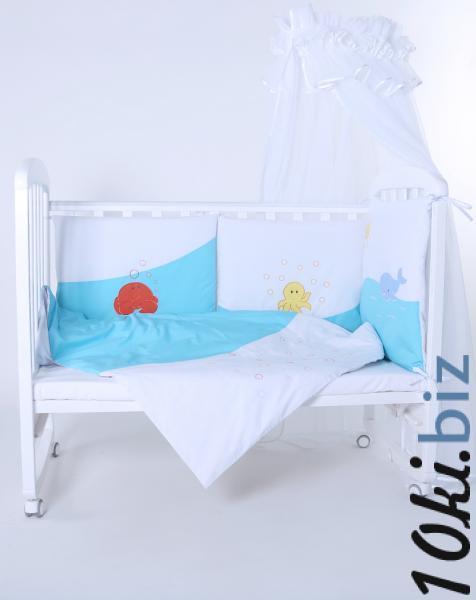 """Защита в детскую кроватку """"Море бирюзовое"""" 360 см + КПБ Защита в детскую кроватку, бортик, бампер в Украине"""