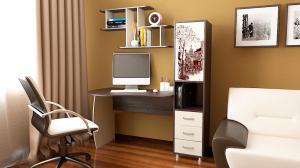 Фото Компьютерные столы Стол компьютерный «Гимназист М» с рисунком (комплект с полкой)(ТриЯ)
