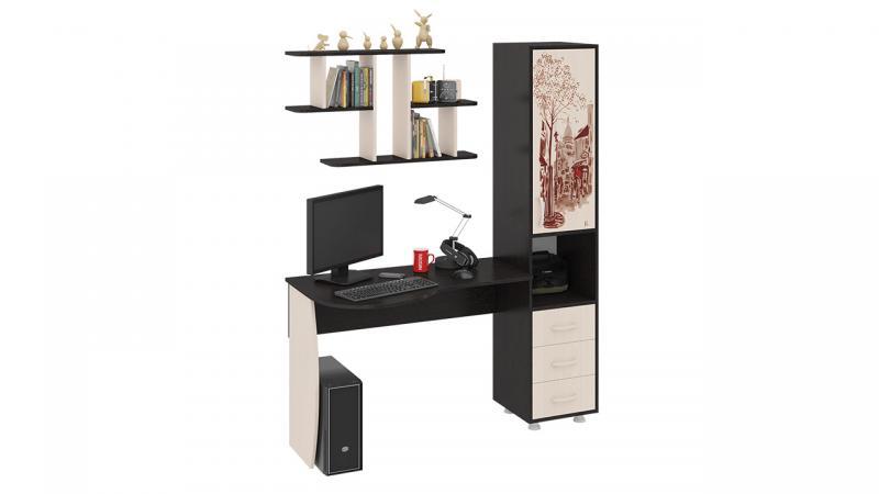 Фото Компьютерные столы ТриЯ-Стол компьютерный «Гимназист М» с рисунком (комплект с полкой)