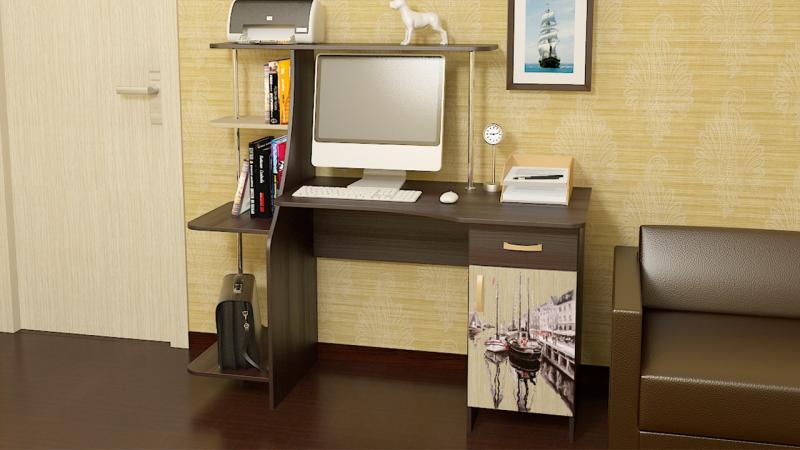 Фото Компьютерные столы ТриЯ-Компьютерный стол «Студент-Стиль М»с рисунком