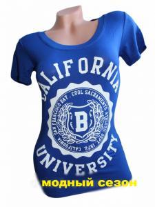 Фото Женская одежда, Женские майки,футболки,шорты,туники 1.Футболка женская Калифорния електрик