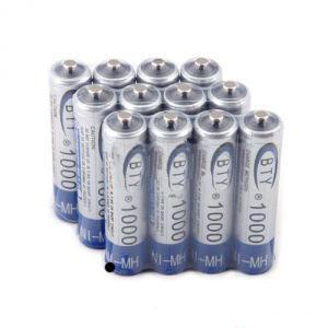 BTY Ni-MH аккумуляторная батарея, AAA, 1000мАч, 12 шт