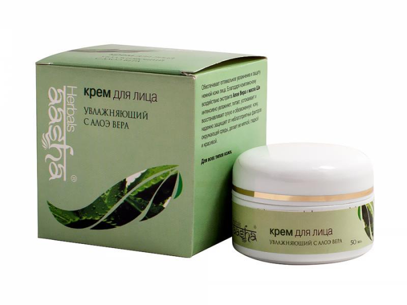Крем для лица увлажняющий с Алоэ Вера - 50 мл. Aasha Herbals