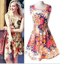 2015 новых женщин лета богемия стиль шифон платья мода цветочные печатный рукавов пляж свободного покроя ретро