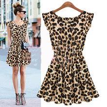 2015 женщины летнее платье сексуальный леопарда свободного покроя печать рукавов тонкая талия ну вечеринку платья vestido Femininos