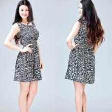 2015 новинка розы печать платье для девушки летом без рукавов свободного покроя женщины платья тонкий ну вечеринку пляж платье S / M / L / XL / XXL
