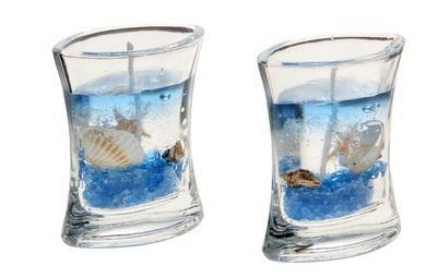 """Свечи гелевые (набор 2 шт) """"Морское дно"""", цвет голубой 107379"""