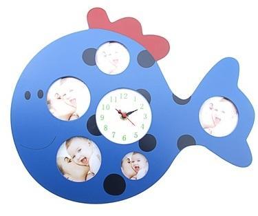 """Часы настенные детские, 5 фоторамок """"Кит""""118743"""