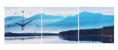 """Часы настенные картина 3в1 """"Туманное утро на озере"""" 127111"""