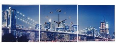 """Часы настенные картина 3в1 """"Мост в огнях"""" 127124"""
