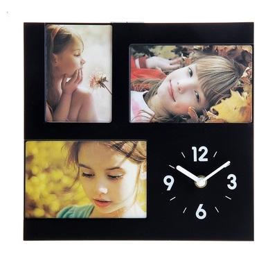 """Часы настенные с подставкой, 3 фоторамки """"Приятные мгновения"""" 760903"""