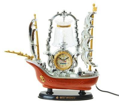 """Часы-светильник с будильником """"Корабль с коричневой кормой"""", от 220v 957965"""