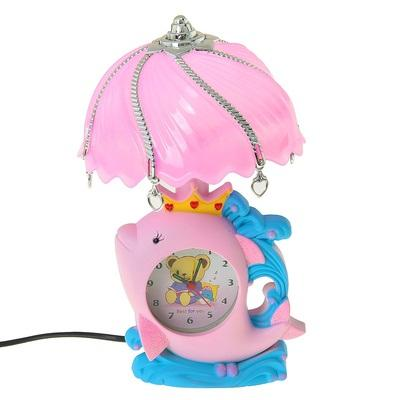 """Часы-светильник с будильником """"Китенок в короне"""", от 220v 965330"""