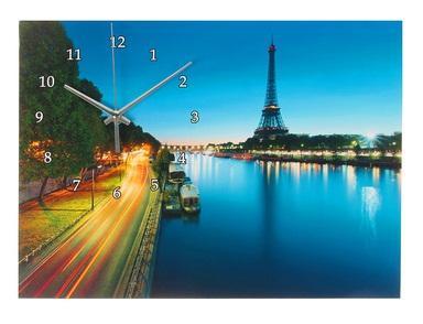 """Часы настенные картина """"Эйфелева башня и набережная""""  1025628"""
