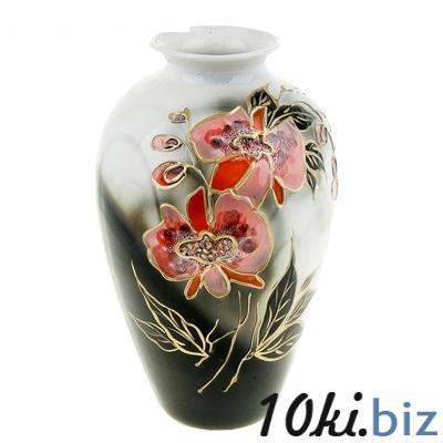 """Ваза форма """"Фея"""" черная задувка, роспись Орхидея 835489 купить в Актобе - Вазы, декоративные кувшины"""