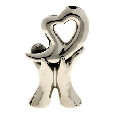 Ваза керамика абстракция серебро 25*14,5 см сердце в руках 851214
