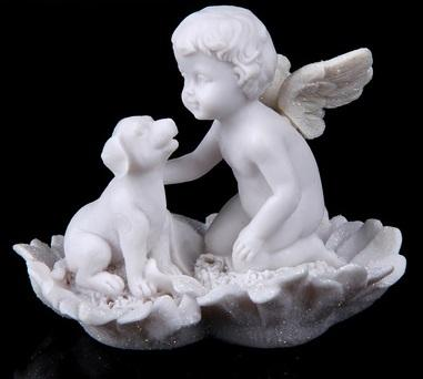 """Сувенир """"Ангел мальчик с собакой на ромашке"""" 539991"""